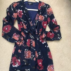 Lulu's navy floral long sleeve dress xs